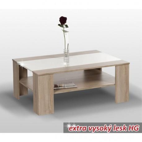 Konferenčný stolík, dub sonoma/biela extra vysoký lesk HG, ARIADNA