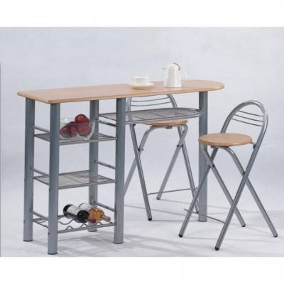 Komplet barový stôl + 2 stoličky, buk, BOXER