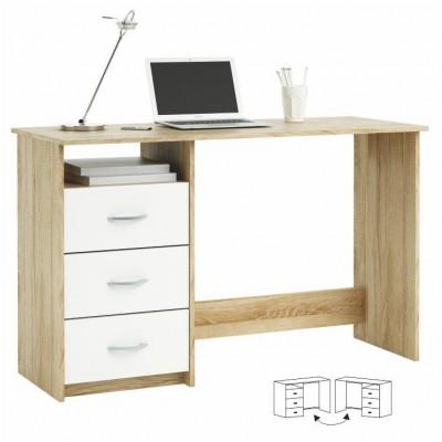 PC stôl, dub sonoma/biela, LARISTOTE 101000