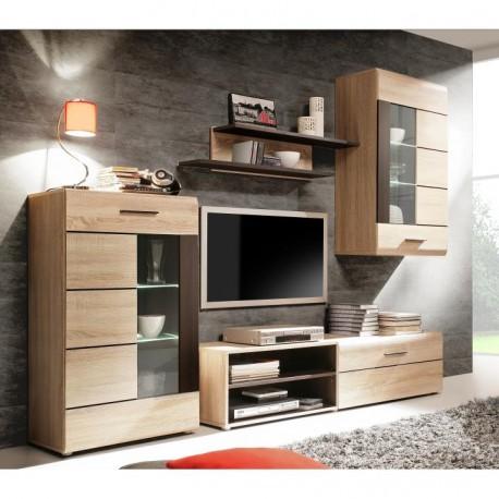 Obývacia stena s LED osvetlením, dub sonoma/sklo, PRESLI-KOMBINO