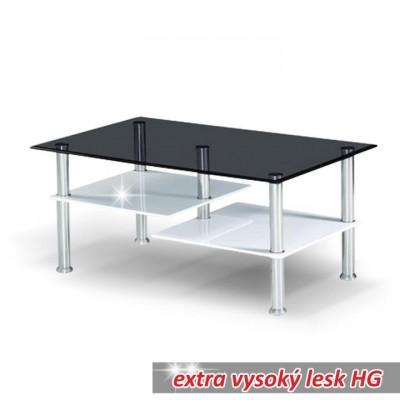 Konferenčný stolík, biela extra vysoký lesk HG/ sklo, SVEN