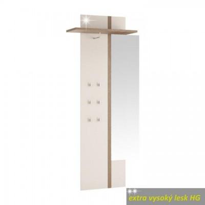 Vešiakový panel so zrkadlom, biela extra vysoký lesk HG, LYNATET TYP 115