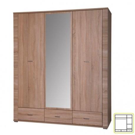 Skriňa so zrkadlom typ 2, dub sonoma, GRAND