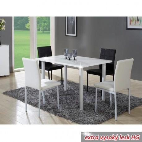 Jedálenský stôl, biela extra vysoký lesk, UNITA