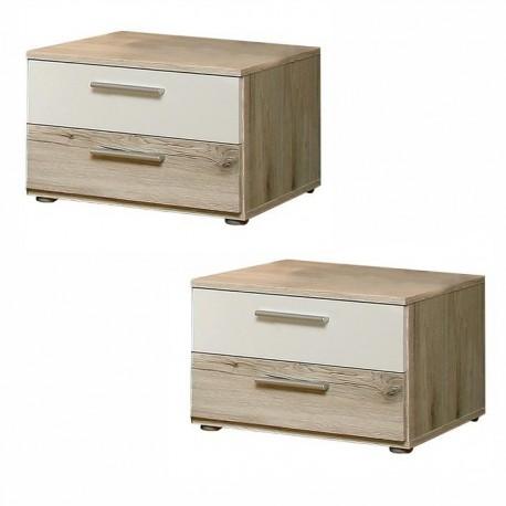 Nočné stolíky, set 2 ks, dub piesková/biela, VALERIA