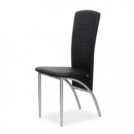 Stolička, čierna ekokoža/chróm, FINA