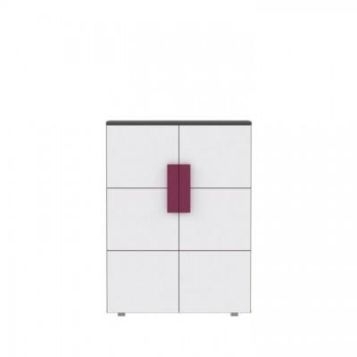 Komoda dvojdverová, sivá/biela/fialová, LOBETE 40