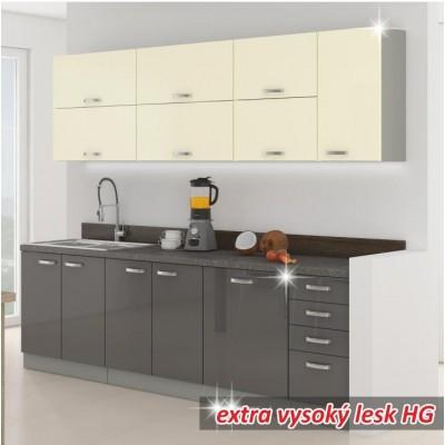 Kuchynská linka, sivá/kremová, extra vysoký lesk, PRADO
