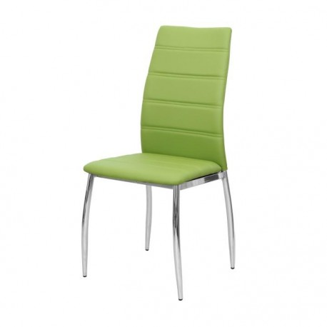 Jedálenská stolička, ekokoža zelená/chróm, DELA