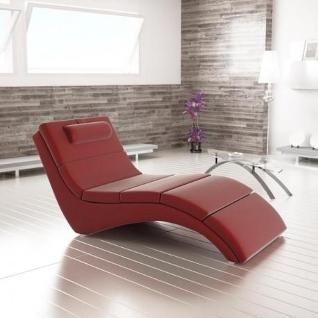 Relaxačné kreslo, červená ekokoža, LONG