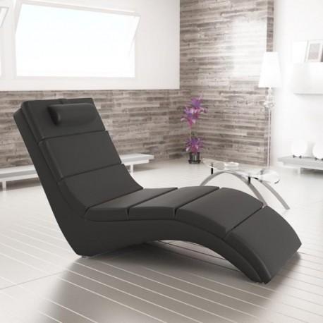 Relaxačné kreslo, čierna ekokoža, LONG