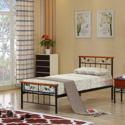 Posteľ s lamelovým roštom, drevo čerešňa/kov, 90x200, MORENA