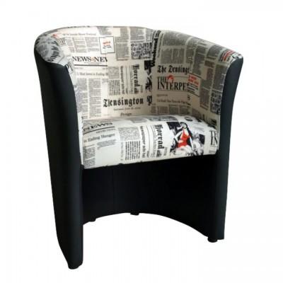 Kreslo, ekokoža čierna/látka vzor novín, CUBA