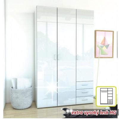 Skriňa, 3 - dverová, biela extra vysoký lesk HG, GWEN 70427