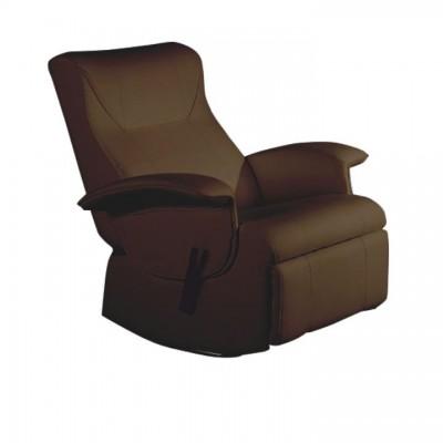 Polohovacie hojdacie relaxačné kreslo, hnedá ekokoža , ROMELO