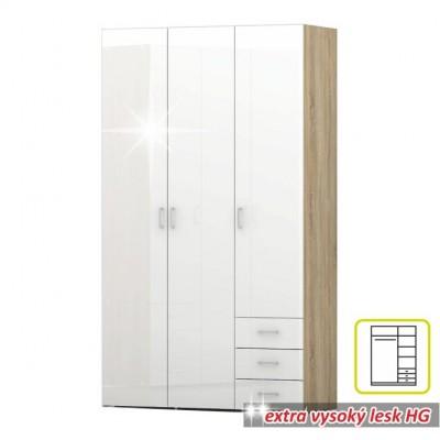 Skriňa, 3 - dverová, dub sonoma / biela extra vysoký lesk HG, GWEN 70427