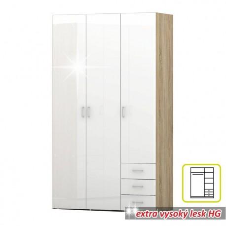 Skriňa, biela extra vysoký lesk HG/dub sonoma, GWEN 70427