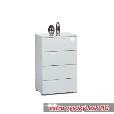 4-šuplíková komoda, biela extra vysoký lesk, SPICE 4