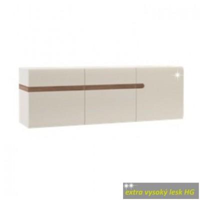 Visiaca skrinka, biela extra vysoký lesk HG/dub sonoma tmavý truflový, LYNATET TYP 67