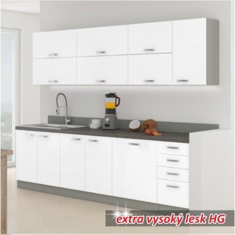 Kuchynská linka, biela extra vysoký lesk/sivá, PRADO