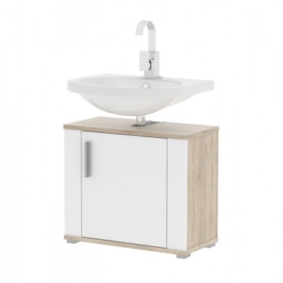 Skrinka pod umývadlo, biela pololesk/dub sonoma, LESSY LI 02
