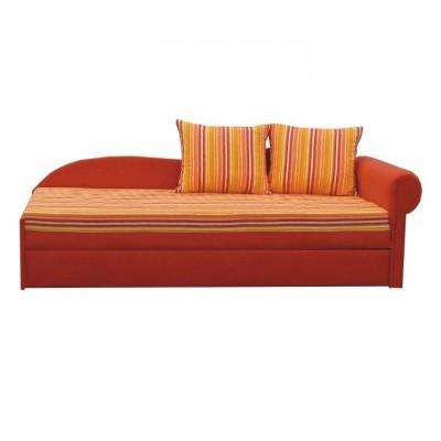 Rozkladacia pohovka, oranžová/pásikavý vzor, pravá, AGA D