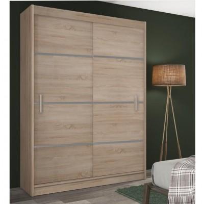 Skriňa s posúvacími dverami, dub sonoma/sivá, MERINA 150