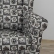 Kreslo ušiak s taburetom, látka patchwork N1, ASTRID