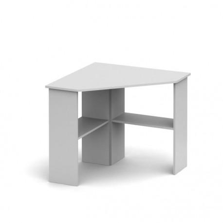 PC stôl, rohový, biela, RONY NEW