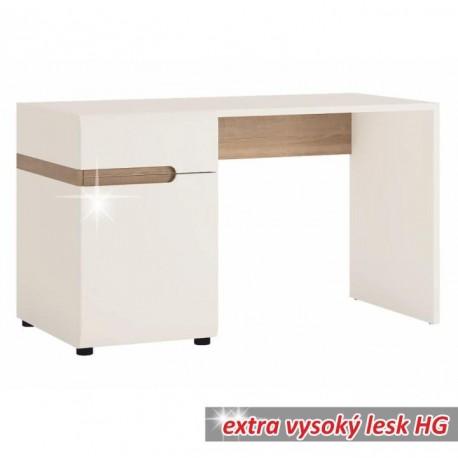 PC stôl, biela extra vysoký lesk HG/dub sonoma tmavý truflový, LYNATET TYP 80