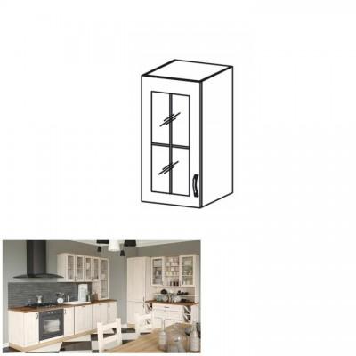 Horná skrinka so sklom, biela/sosna nordická, ľavá, ROYAL G30S