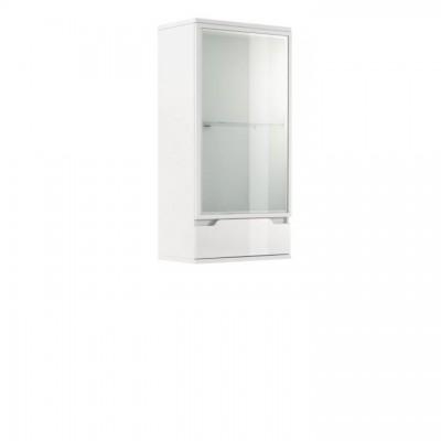 Závesná vitrína, biela/biela s extra vysokým leskom, ADONIS AS 08