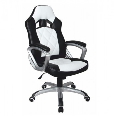 Kancelárske kreslo, ekokoža čierna/biela, LOTAR