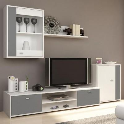 Obývacia stena, biela/sivá, GENTA