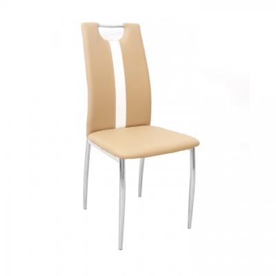 Stolička, béžová/biela, ekokoža/chróm, SIGNA