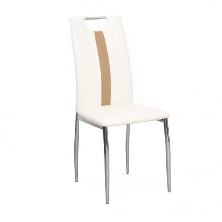 Stolička, biela/béžová, ekokoža/chróm, SIGNA