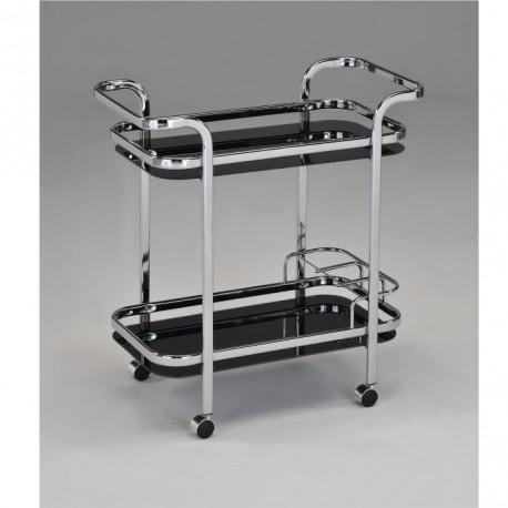 Servírovací vozík, čierne sklo+chróm, ELON