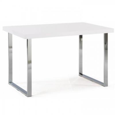 Jedálenský stôl, biela HG + chróm, TALOS