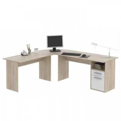 Rohový PC stôl, dub sonoma/biela, MAURUS NEW MA11