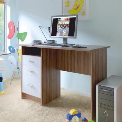 PC stôl, dub slivka/biela, SAMSON NEW