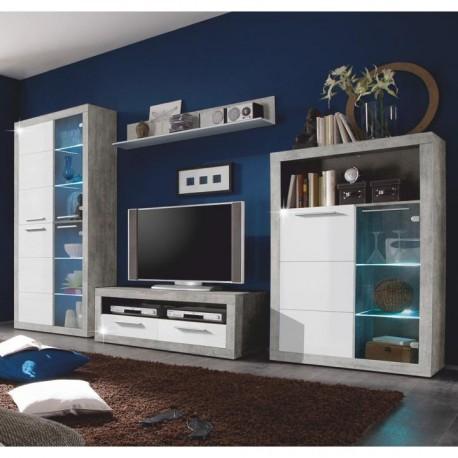 Obývacia stena, Beton/biely lesk, SLONE
