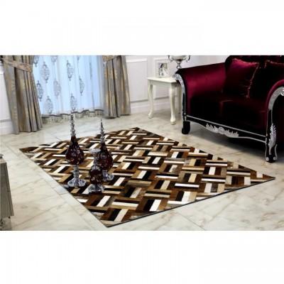 Luxusný kožený koberec, hnedá/čierna/béžová, patchwork, 140x200 , KOŽA TYP 2