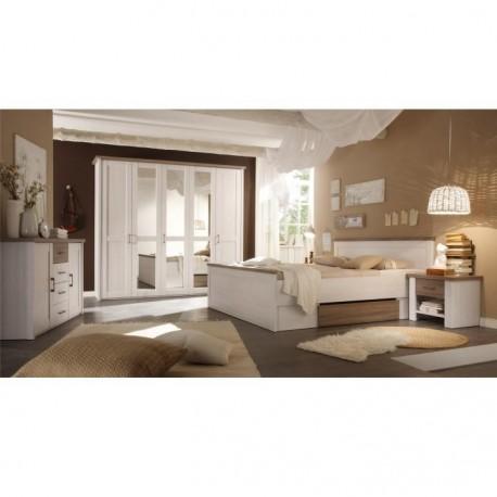 Spálňový komplet (posteľ, 2 nočné stolíky, skriňa), pínia biela/dub sonoma truflový, LUMERA