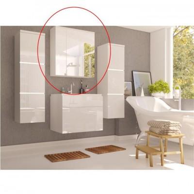 Skrinka so zrkadlom, biela/biely HG, MASON WH 14
