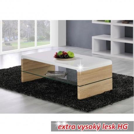 Konferenčný stolík, dub sonoma/biela extra vysoký lesk HG, KONTEX 2 NEW