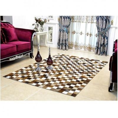 Luxusný kožený koberec, hnedá/čierna/biela, patchwork, 144x200, KOŽA TYP 3