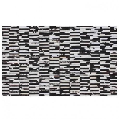 Luxusný kožený koberec, hnedá/čierna/biela, patchwork, 141x200, KOŽA TYP 6