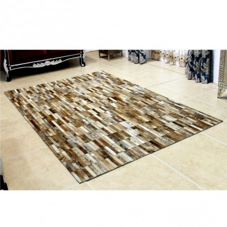 Luxusný kožený koberec, hnedá/biela, patchwork, 201x300, KOŽA TYP 5