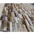 Luxusný kožený koberec, hnedá/biela, patchwork, 141x200, KOŽA TYP 5