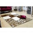 Luxusný kožený koberec, čierna/hnedá/biela, patchwork, 120x180, KOŽA TYP 4